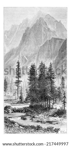 Wysoka Valley and Ganek Peak of the Pieniny Mountains, Poland, drawing by G. Vuillier from a photograph, vintage engraved illustration. Le Tour du Monde, Travel Journal, 1881 - stock photo