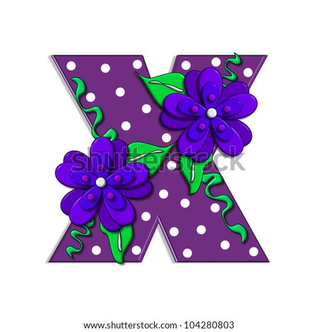 """X, in the alphabet set """"Clinging Vine"""", is decorated with mod flowers in three layers.  Letters are purple and vines and leaves are mint green. - stock photo"""