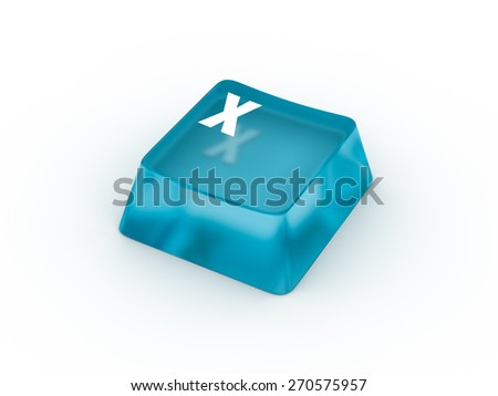 X Letter on transparent blue keyboard button - stock photo