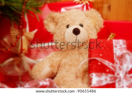 x-mas teddy - stock photo