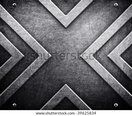 x pattern on metal background - stock photo
