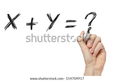 X plus y writing with chalk on whiteboard - stock photo