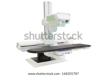 X-ray apparatus under the white background - stock photo