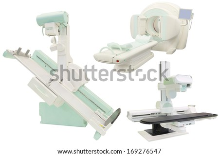 X-ray apparatuses under the white background - stock photo