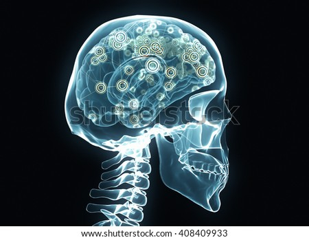X-ray brain and skeleton isolated on black network. 3D rendering - stock photo