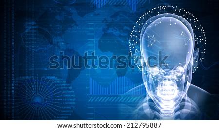 X-ray image of head - stock photo