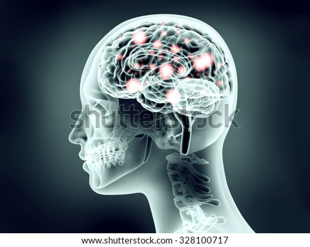 x-ray image of human head with brain and electric pulses - stock photo