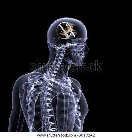 X-Ray of a male skeleton with a hamster running in a wheel in his head for the concept of thought. Isolated on a black background - stock photo