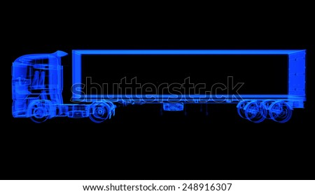 X-ray of heavy truck with semi-trailer on black background - stock photo