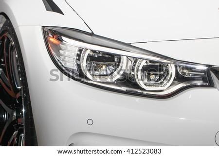 Xenon/LED light of a modern car - stock photo