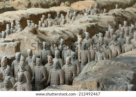 Xi'an, China:24 Mar 2014 Terracotta Army is a collection of terracotta sculptures depicting the armies of Qin Shi Huang, the first Emperor of China. 210-209 BC - stock photo