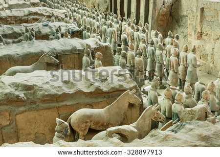 Xi 'an, China - on September 26, 2015: famous qin shihuang terracotta warriors, it is the eighth wonder of the world, qin shihuang terracotta army is one of the world cultural heritage. - stock photo