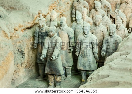Xi 'an, China - September 26, 2015: the world most famous statue of the Terra Cotta Warriors??it is the eighth wonder of the world, qin shihuang terracotta army is one of the world cultural heritage. - stock photo