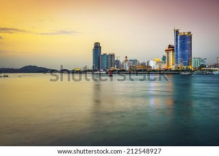 Xiamen, China skyline at twilight. - stock photo