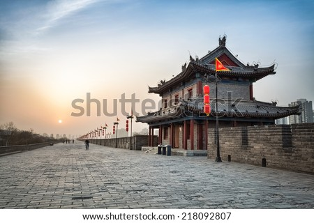 xian city wall and ancient tower at dusk, hdr image  - stock photo
