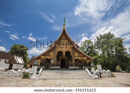 Xieng thong temple world heritage in Luang Pra bang, Laos - stock photo
