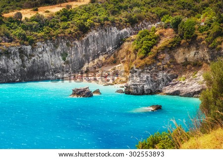 Xigia sulphur and collagen springs on Zakynthos island, Greece - stock photo
