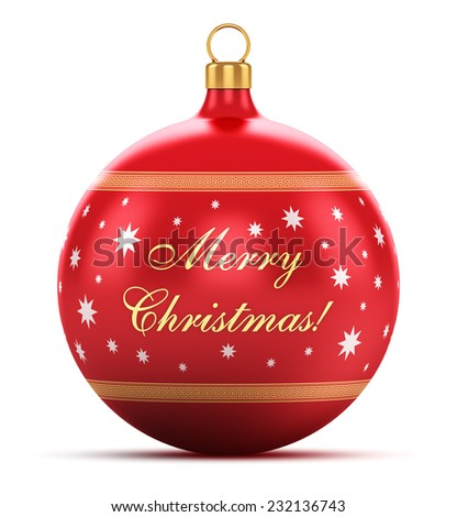 Xmas and New Year 2015 celebration concept: red shiny metallic glass Christmas ball with star decoration ornament design and Merry Christmas greeting congratulation text isolated on white background - stock photo