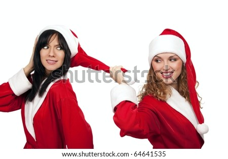 Xmas background: girl in santa costume pulling by bubo her friend - stock photo
