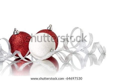 xmas ball and ribbonl on a white background - stock photo