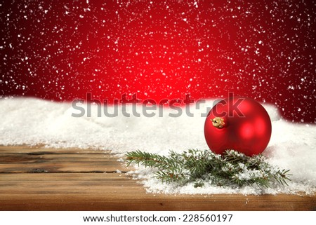xmas decoration of ball tree snow and wall  - stock photo