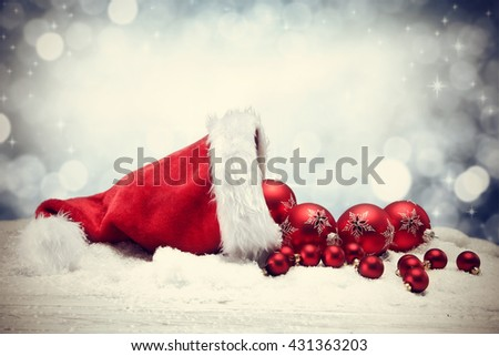 xmas decoration of santa claus hat  - stock photo