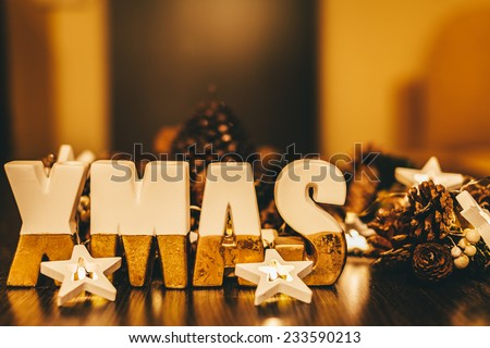 Xmas Decoration with Ceramic Letters - stock photo