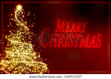 xmas greeting card with a christmas tree and some sparkles - stock photo