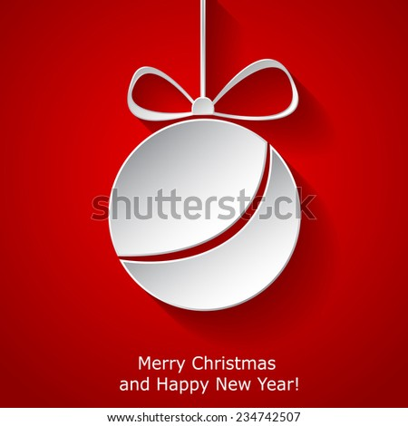 Xmas greeting card with abstract paper Christmas ball on red background. Raster illustration - stock photo