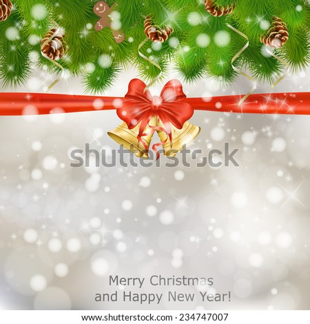 Xmas greeting card with fir branches and Christmas bells. Raster illustration - stock photo