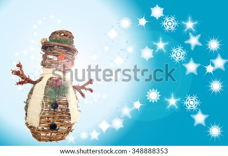 xmas holiday background of stylized diverse snowflakes and snowman ornament made of twigs for layouts requiring winter scenery - stock photo