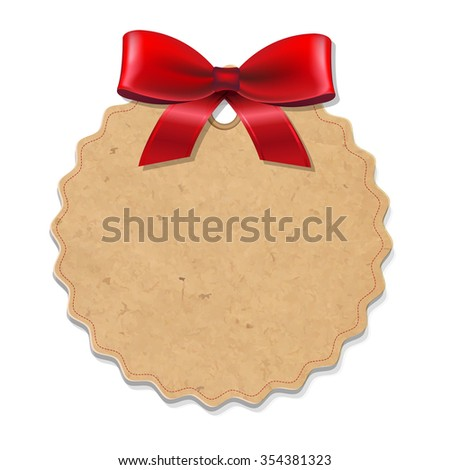 Xmas Label With Red Bow  - stock photo