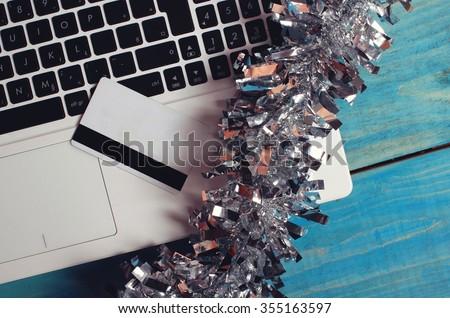 Xmas online shopping - stock photo