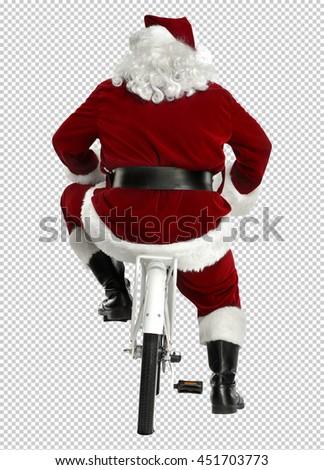 xmas photo with saved path of santa claus on white small bike  - stock photo