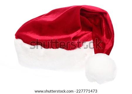 Xmas santa hat, isolated on white - stock photo