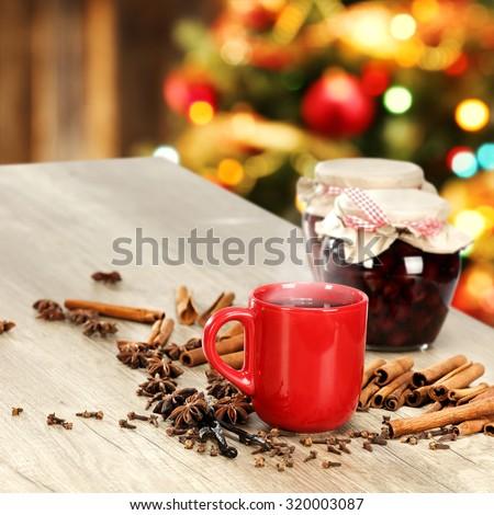 xmas tree and hot drink of xmas time  - stock photo