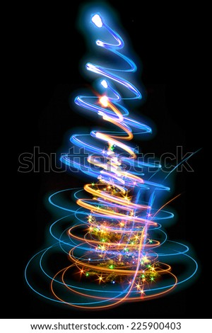 xmas tree (lights) on the black background - stock photo