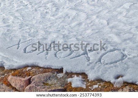 Xoxoxo meaning Hugs And Kisses, written in capital letters on frozen white snow while brown weeds and moss in the foreground - stock photo