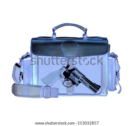 Xray scan detects weapon in criminals briefcase - stock photo