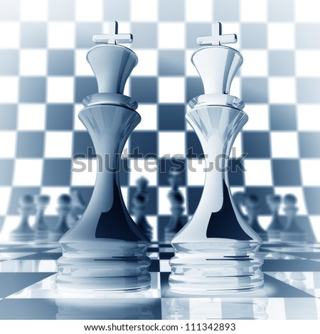 Xrey chess king background  3d illustration. high resolution - stock photo