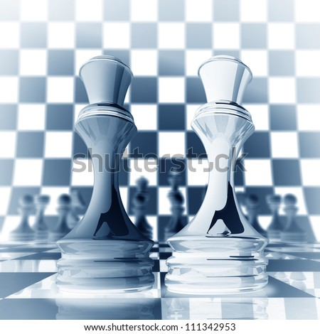 Xrey chess Queen background  3d illustration. high resolution - stock photo