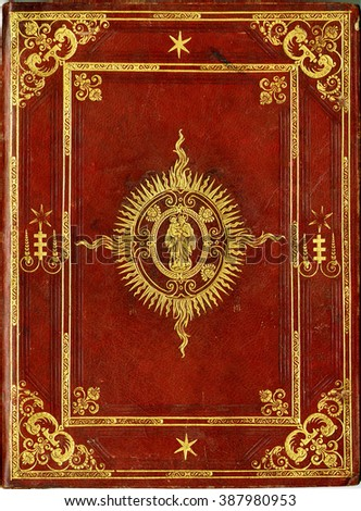 XVI century book cover with reference to Christian religion, Virgin Mary. - stock photo