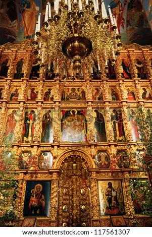 XVII century iconostasis in Trinity cathedral (Ipatiev monastery, Kostroma) - stock photo