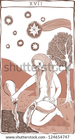 XVII tarot card, the star, in vintage woodcut style - stock photo