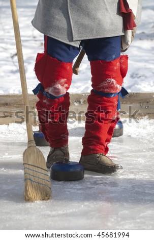XVIII century curling player - stock photo