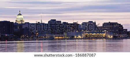 XXL Panorama of Madison, Wisconsin. - stock photo
