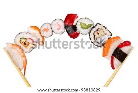XXL sushi pieces, isolated on white background - stock photo