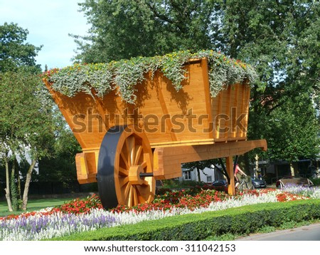 XXL-wheelbarrow in bad lippspringe - stock photo