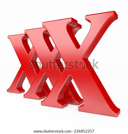 xxx icon on white background  - stock photo