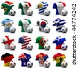XXXL 3D render of Groups A to D participating in the World Cup 2010 tournament to be held in South Africa. Athletic torso and ball depicted. Medium resolution - look out for more 2010 images. - stock photo